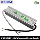 10W - 250W IP67 Waterproof LED Transformer Driver Power Supply for Strip DC 12V (DC12V 5.0A,60W)
