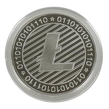 Litecoin moneda de metal, moneda recubierta con plata verdadera, con caja protectora