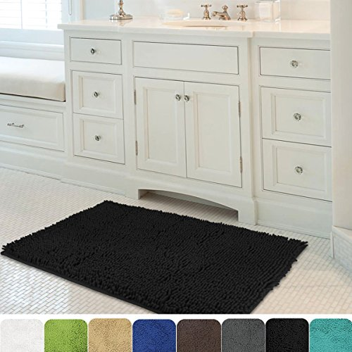 MAYSHINE 24×39 inch Non-slip Bathroom Rug Shag Shower Mat Machine-washable Bath mats with Water Absorbent Soft Microfibers of – Black