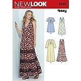NEW LOOK 6448 Patterns Misses' Easy V-Neck Dresses, A (6-8-10-12-14-16-18)