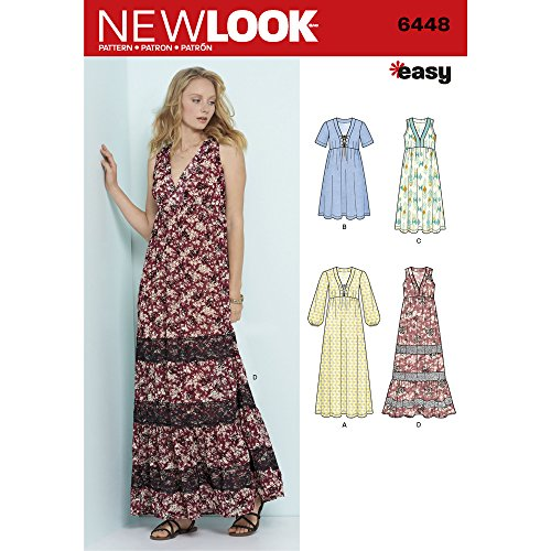 NEW LOOK 6448 Patterns Misses' Easy V-Neck Dresses, A (6-8-10-12-14-16-18) by New Look