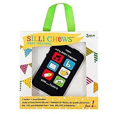 Silli Chews Cute Baby Teether Gift Kids Pretend Play Phone Fake Telephone Mobile Cell Safe Silicone Teething Toy Infant Pain Relief Apple Black Smart Chatter : Baby