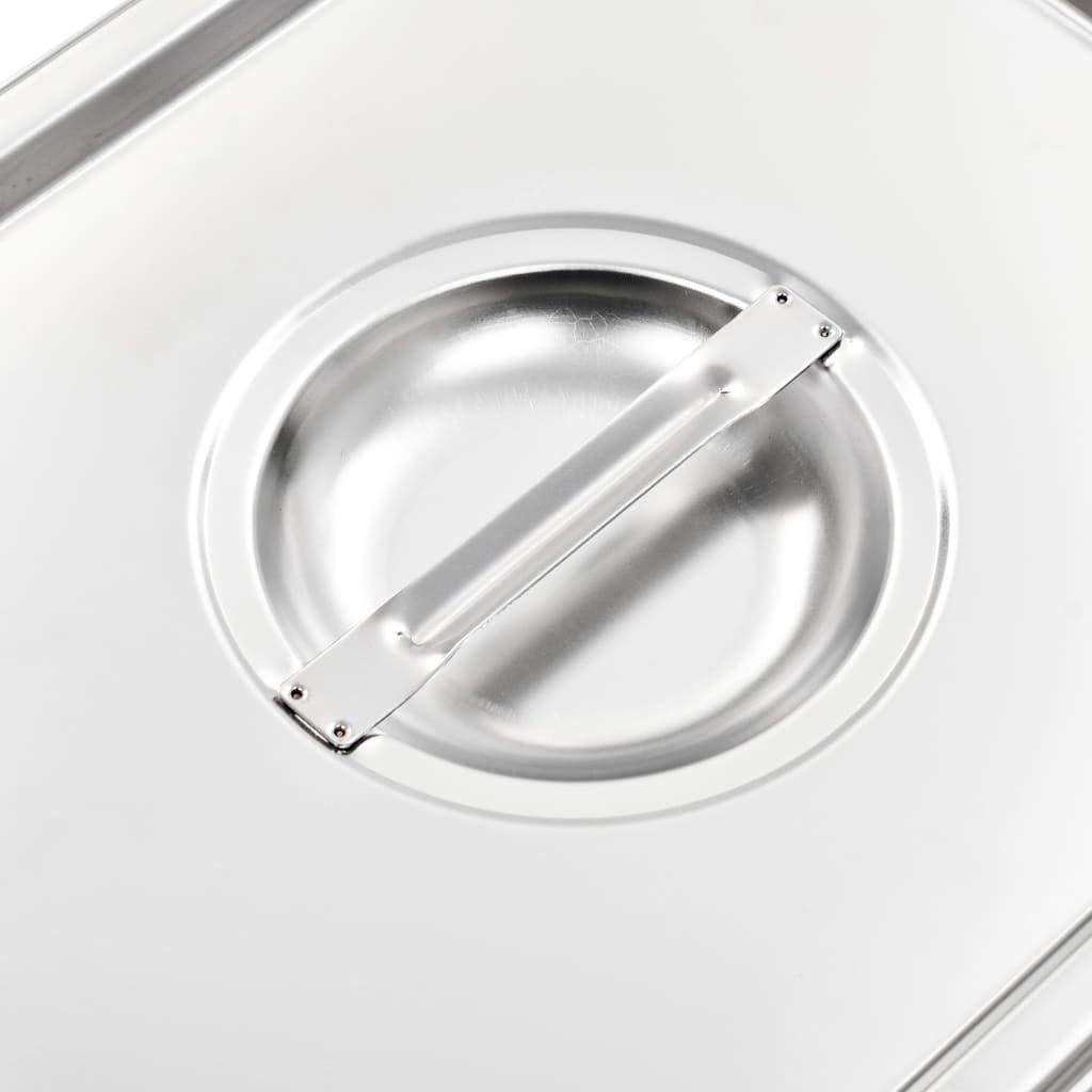 Nishore Coperchi per Teglie 2 pz GN 1//2 325x265 mm in Acciaio Inox Argento