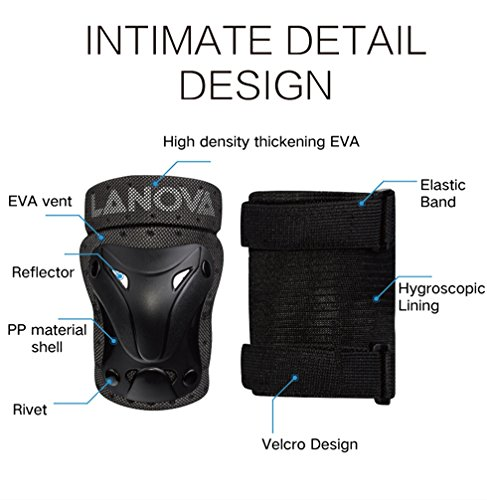 LANOVAGEAR Kids Knee Elbow Pads Wrist Guard 3 in 1 Protective Gear Set for Multi  Sports c3a4270a96