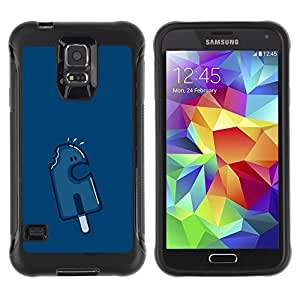 LASTONE PHONE CASE / Suave Silicona Caso Carcasa de Caucho Funda para Samsung Galaxy S5 SM-G900 / Cream Navy Blue Character Popsicle
