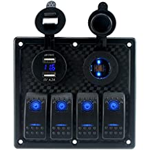 IZTOR Waterproof 4 Gang LED blue Marine Boat Rocker Switch Panel with power charger and USB socket
