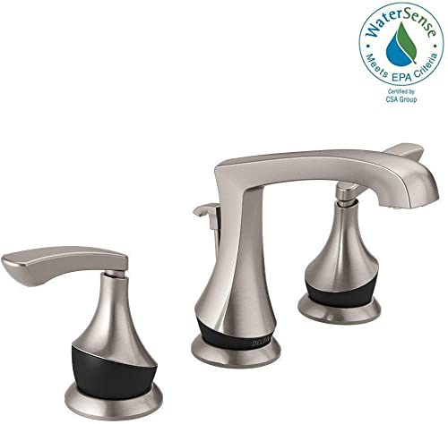 Delta Merge 8 Inch Widespread 2-Handle Bathroom Faucet in SpotShield Brushed Nickel Matte Black