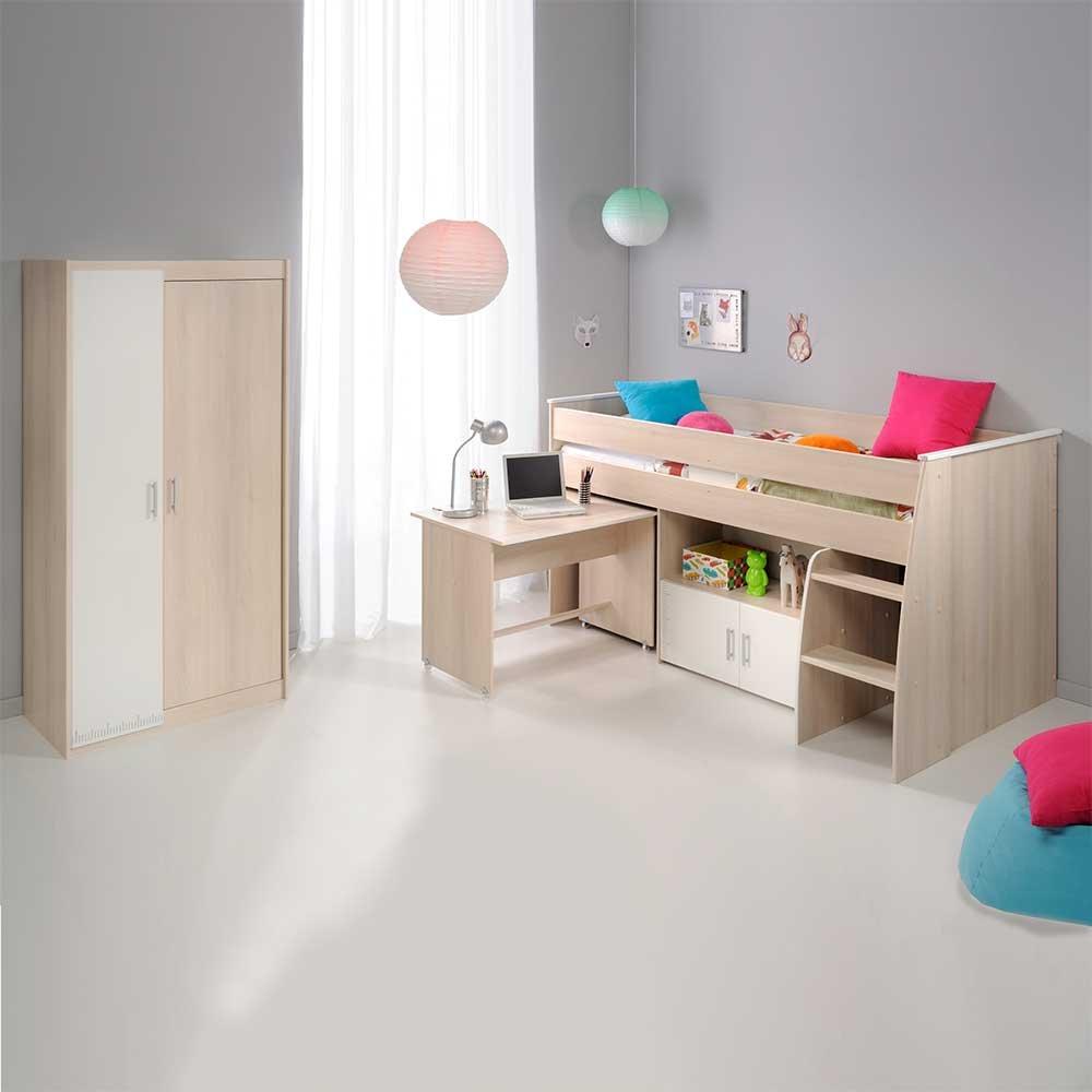 Pharao24 Jugendzimmermöbel Set mit Hochbett und Schreibtisch Akazie Weiß