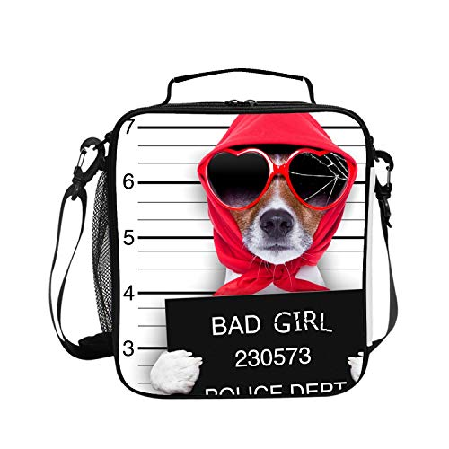 Insulated Lunch Bag Bad Jack Russell Girl Lunchbox Waterproof Cooler Warm Bags Reusable Tote Box