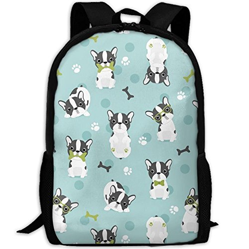 Frenchie French Bulldog Grey Borns Paw Laptop Backpack, Travel Computer Bag For