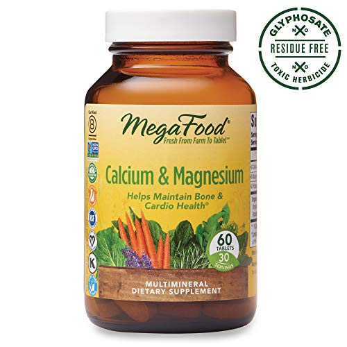 MegaFood, Calcium & Magnesium, Helps Maintain Bone and Cardiovascular Health, Vitamin and Dietary Supplement, Gluten Free, Vegan, 60 Tablets (30 Servings) (FFP)