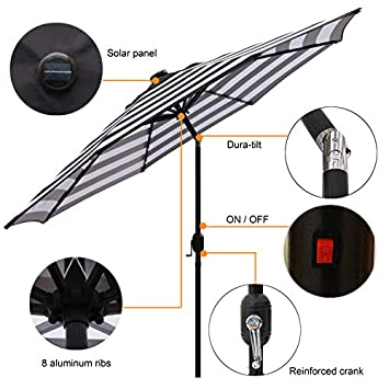 Blissun 9 ft Solar Umbrella 32 LED Lighted Patio Umbrella Table Market Umbrella with Tilt and Crank Outdoor Umbrella for Garden, Deck, Backyard, Pool and Beach Black and White