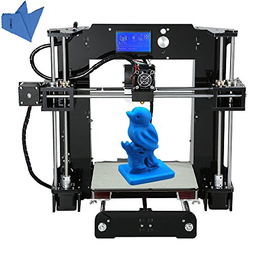 Anet A6 High Precision Big Size Desktop 3D Printer Kits Reprap Prusa i3 DIY Self Assembly LCD Screen with 16GB SD Card Aibecy Cleaning Cloth by Anet