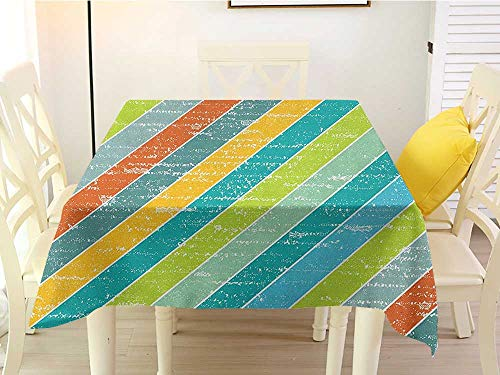 L'sWOW Square Tablecloth Paper Vintage Rainbow Diagonal Stripes with Grunge Effect Funky and Geometric Weathered Look Multicolor Party 36 x 36 Inch