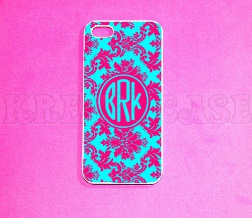 Krezy Case iPhone 6 Plus case, iPhone 6 Plus Case, Damask Pattern with Monogram iPhone 6 Plus Case for iPhone...