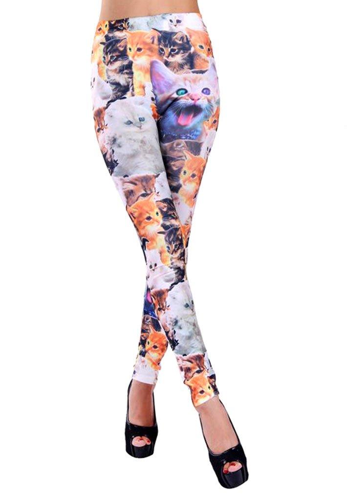 Simplicity Women Lady Punk Style Cat Print Skinny Funky Legging, 3090_Cat