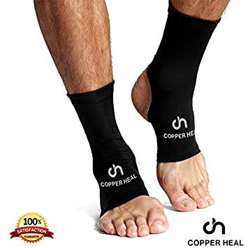 COPPER HEAL Ankle Compression Sleeve (Pair) - Highest Copper Infused Brace Socks Arch Support