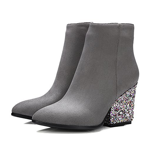Meotina Brand Designer High Heels Women Ankle Boots Zip Glitter Thick Heel Ladies Boots Winter (6, Black)