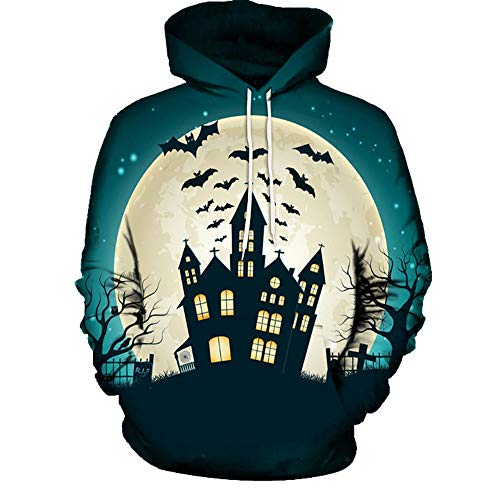 TWGONE Halloween Couple Shirts Womens Tops Haunted House 3D Print Long Sleeve Hoodies Blouse (US-10/CN-L,Green)