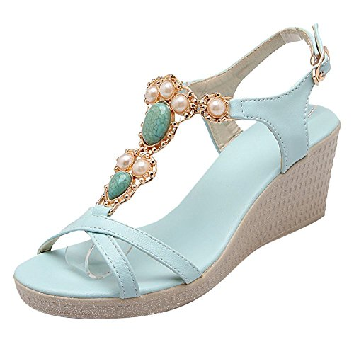 Charm Foot Womens Fashion Beaded Ankle Strap Wedge High Heel Sandals Blue FiXebY