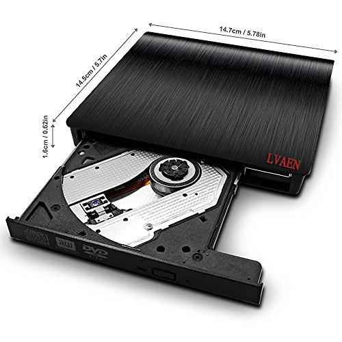 Lvaen External DVD Drive, USB 3.0 Slim Portable CD/DVD-RW Combo Burner Writer Player Optical Drive for Apple Macbook, Macbook Air, Laptops, Desktops (Black) by Lvaen (Image #2)'
