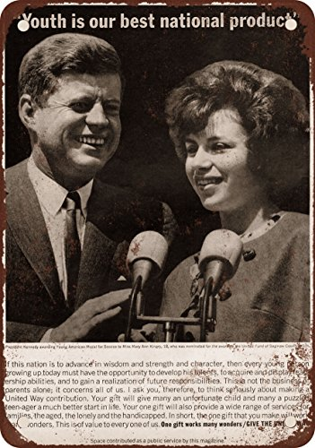 1963-john-f-kennedy-salutes-youth-united-way-10-x-7-vintage-look-reproduction-metal-sign