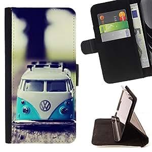 - VW Hippy Van - - Prima caja de la PU billetera de cuero con ranuras para tarjetas, efectivo desmontable correa para l Funny HouseFOR HTC One M8