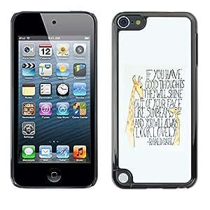 FlareStar Colour Printing Giraffe Inspirational Kids Quote Text cáscara Funda Case Caso de plástico para Apple iPod Touch 5