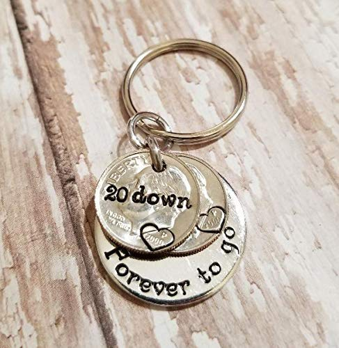 20 Down Forever zu gehen with zwei 2000 Dimes Schlüssel Chain 20th Anniversary Gift for ihm or Her