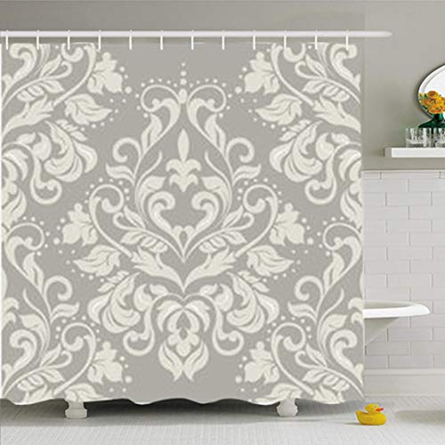 ArtsDecor Shower Curtains 72 x 72 Inches Baroque Floral Damask Pattern Elegant Luxurys Taupe Color Italian Waterproof Fabric Bathroom Home Decor Set Hooks