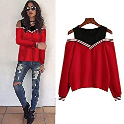 Women Blouse ,Ieason Women Off Shoulder Long Sleeve Sweatshirt Blouse Tops Pullovers (S, Red)