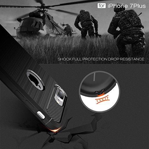 Custodia per iPhone8 Plus ,Custodia per iPhone7 Plus ,ZXLZKQ Nero Lusso Cover Morbido TPU Silicone Case Custodia Shockproof Protezione Bumper Back per iPhone8 Plus / iPhone7 Plus