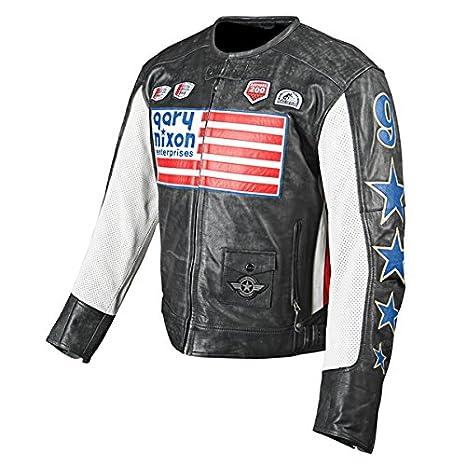 Velocidad y fuerza Nixon Replica Street Racing chaqueta de Moto de piel Para Hombre - negro: Amazon.es: Coche y moto
