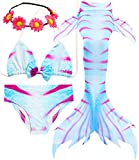 Garlagy Girls 3 Pcs Mermaid Tail Swimsuit Swimmable Bikini Set Swimwear for Toddler Girl Swimming Can Add Monofin 3-12Y (5-6/Ht:45-47in(tag 120), E-Rose red)