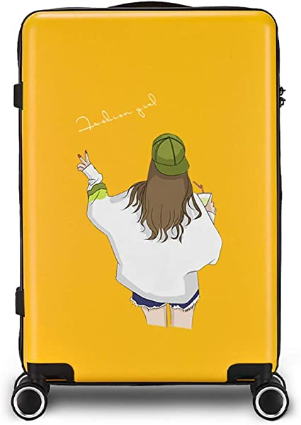 Amazon Com Suitcase Female 20 Inch Trolley Case Student Cute Cartoon Suitcase Male Boarding Password Box Tsa Customs Code Lock Double Row Universal Wheel Yellow Suitcases