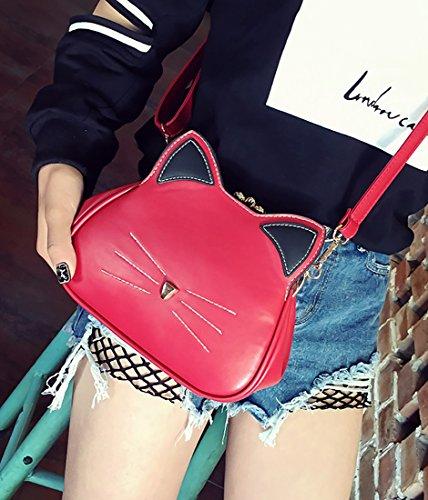 Ear XMLiZhiGu Girls' Purse Women's Bag Shoulder Red Crossbody 3 Cat Leather Kitty Bags Pu Handbag Cute tvrqdwr