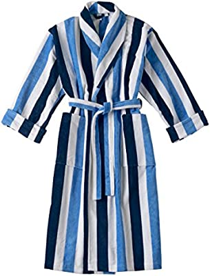 SO MY HOME by JMA Albornoz Terciopelo Rayas 100% algodón Calidad Lujo 360 GM2 Salida de baño Cuello de Solapa para Hombre Mujer, 100% algodón, Azul/Azul, L: Amazon.es: Hogar