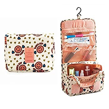 D-Pocket Hanging Toiletry Bag, Travel Organizer for Men and Women(Pink Smile)