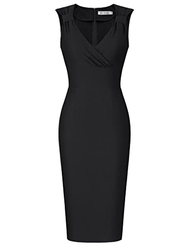 MUXXN Women's Vintage 1960s Style V Neck Bodycon Cocktail Evening Dress