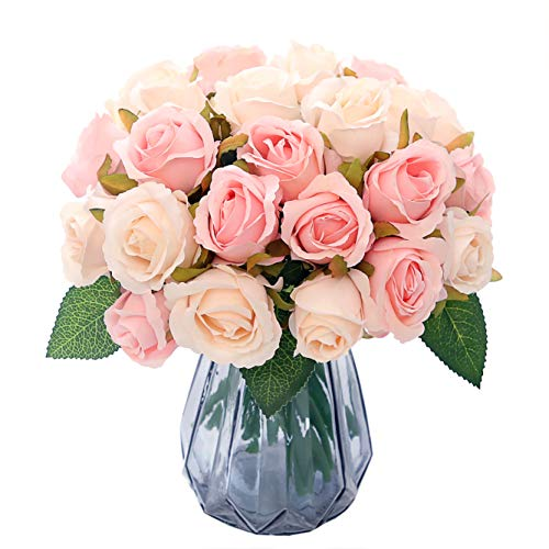 NYRZT Artificial Flowers Silk Roses 24 Heads Bridal Wedding Bouquet Decoration Home Kitchen Party Decor - (Pink Champagne)