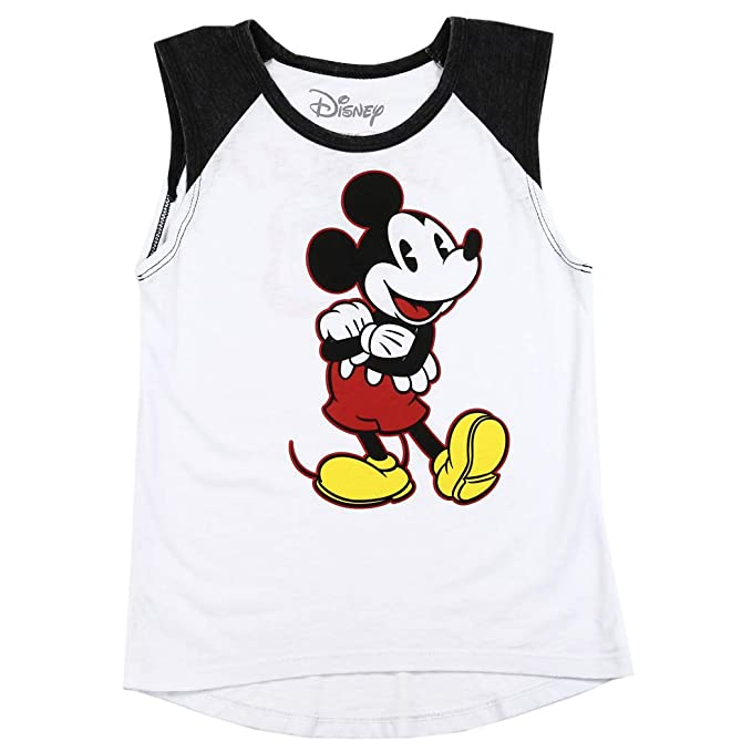 e01f533a9f48d6 Disney Mickey Mouse Girls Burnout Sleeveless T-Shirt with Front and Back  Print