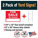 Advertising Signs 2 Pack of For Sale By Owner Yard Signs (Double-Sided) - Made with Tear-Proof 18x24 Inch Coroplast - Heavy Duty H-Stakes Included