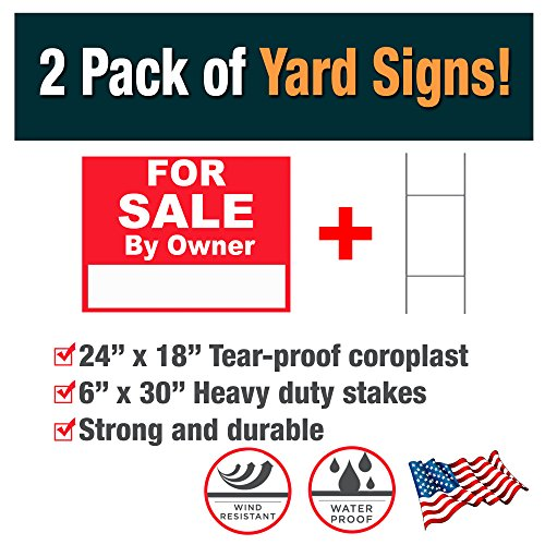 Advertising Signs 2 Pack Of For Sale By Owner Yard Signs  Double Sided    Made With Tear Proof 18X24 Inch Coroplast   Heavy Duty H Stakes Included