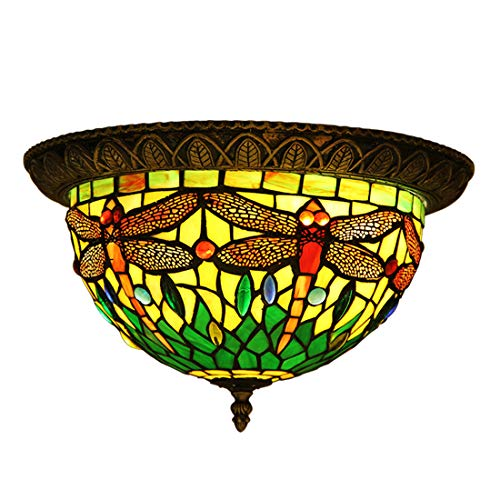 Makenier Vintage Tiffany Style Green Stained Glass Dragonfly Flush Mount Ceiling Light Fixture, 12 Inches Lampshade ()