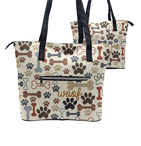(Women Tote Bag PU Leather Handbags Casual Ladies Shoulder Bags for Shopping, Dog Bones Paw Prints Cream)