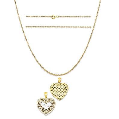 K/&C 14k Yellow Gold Filigree Heart Lock Pendant