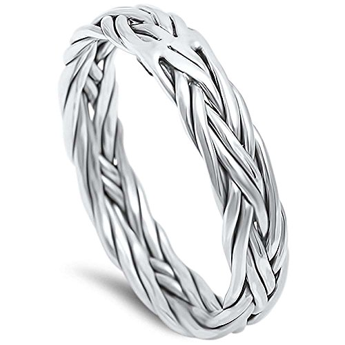 Braided Celtic Band .925 Sterling Silver Ring sizes 6-13 (8) 17028-ox ()