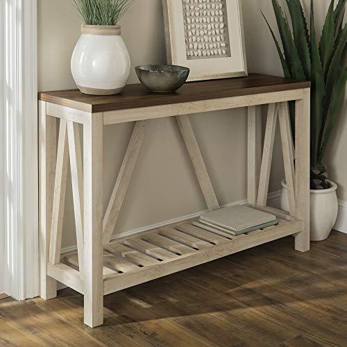 WE Furniture AZF52AFTWWO Rustic Entry Table White Oak