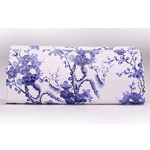 Shoulder Handbag Clutch Flower Dooppa Bag Bag Pattern PU Blue Flower Ladies Purse Leather Crossbody Y6Y8w