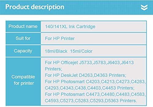 Compatible 140 141 XL Ink Cartridge Replacement for HP 140 141 Photosmart C4283 C4583 C4483 C5283 D5363 D4263 Printer-2 Black//1color